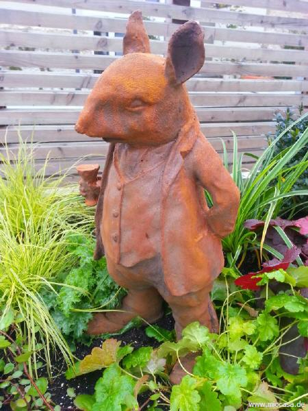 Mr ratty maus frederik aus gusseisen rost gartenfigur im for Edelrost figuren