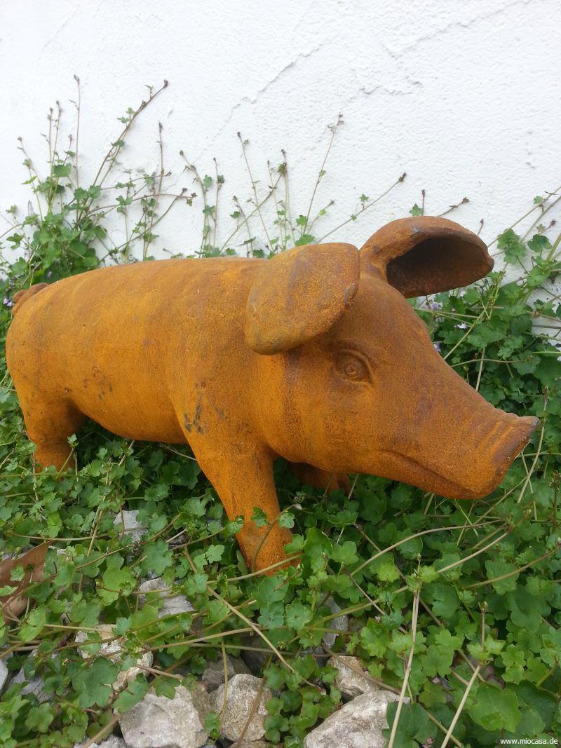 Schwein aus gusseisen m edelrost eisenschwein for Figuren aus rost